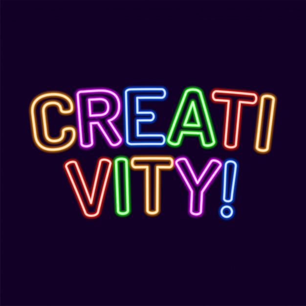Lettere di creatività neon font 80s text Vettore Premium