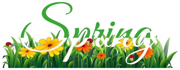 Lettere di primavera Vettore gratuito
