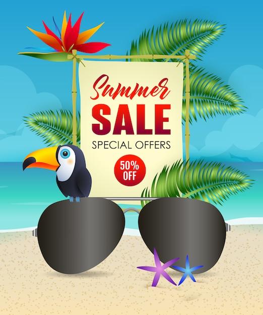 Lettere di saldi estivi con occhiali da sole e tucano Vettore gratuito