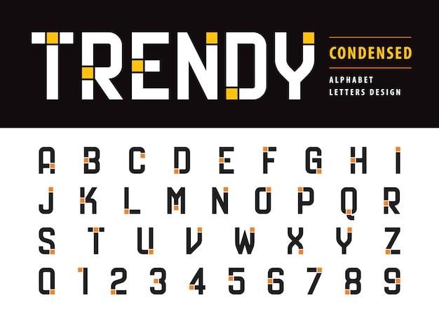 Lettere e numeri dell'alfabeto moderno alla moda Vettore Premium