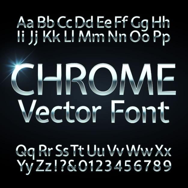 Lettere e numeri in metallo cromato, acciaio o argento. carattere metallico, carattere tipografico. Vettore Premium