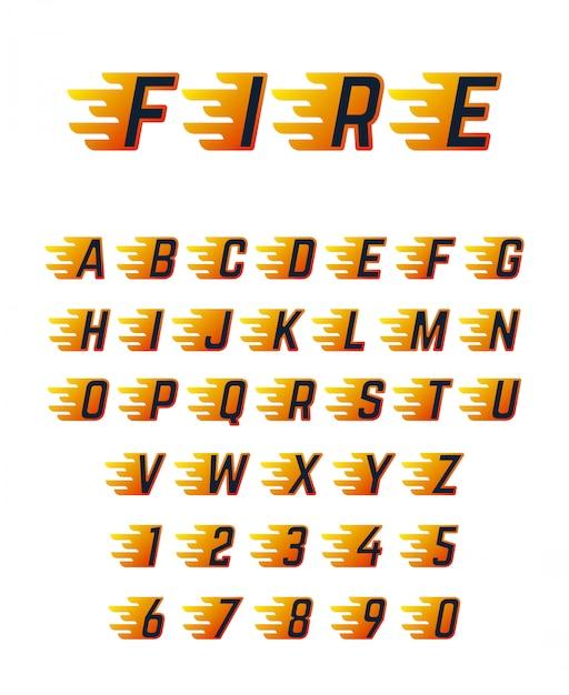 Lettere in esecuzione bruciante con fiamma. alfabeto della fonte di vettore di fuoco caldo per auto da corsa Vettore Premium