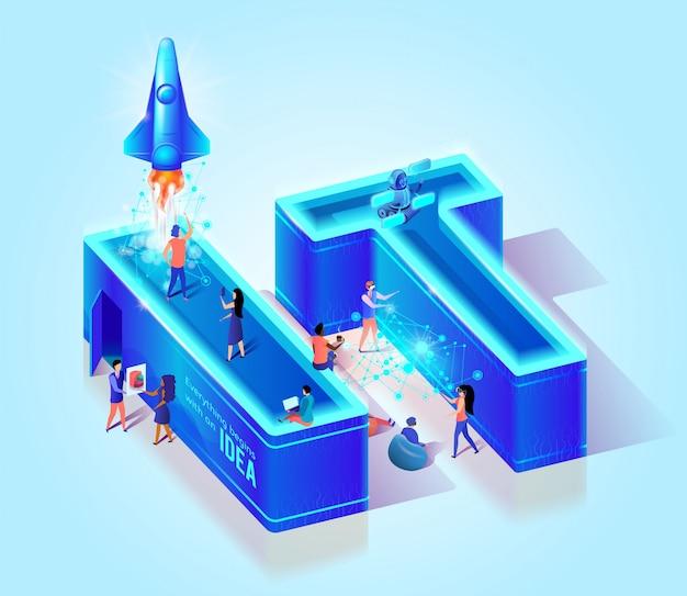 Lettere isometriche di effetto al neon 3d it Vettore Premium