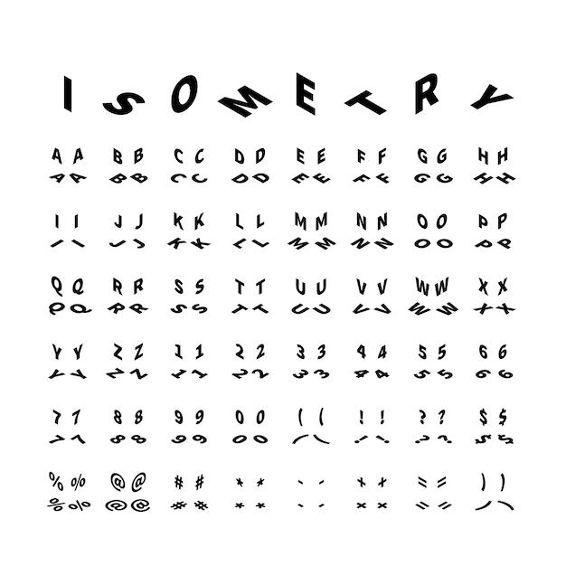 Lettere latine nere in quattro proiezioni isometriche isolate su bianco Vettore Premium