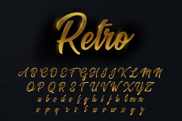 Lettere, numeri e simboli dell'alfabeto ruotati dorati chic Vettore Premium