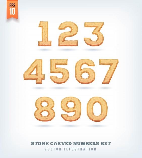 Lettere, numeri e simboli tipografici scolpiti nella pietra. illustrazione. Vettore Premium