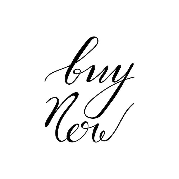 Lettering acquista ora. illustrazione vettoriale Vettore Premium
