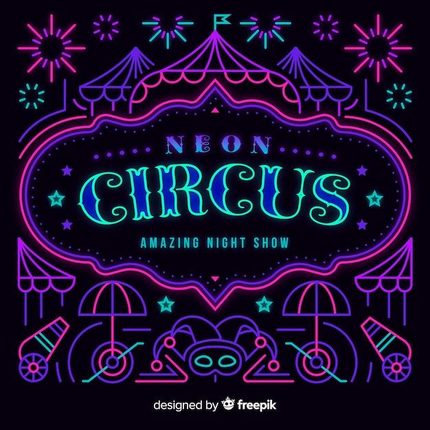 Lettering al circo al neon Vettore gratuito