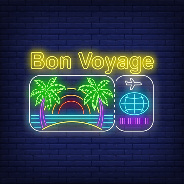 Lettering al neon di bon voyage con logo della spiaggia e del biglietto aereo Vettore gratuito
