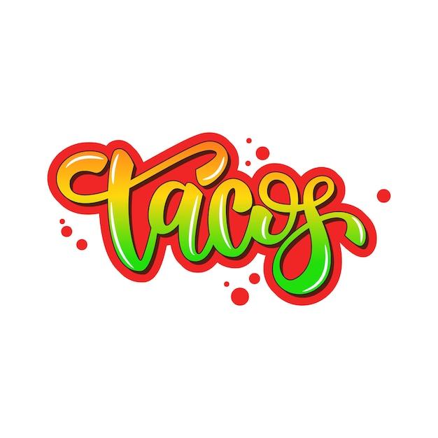 Lettering banner design tacos Vettore Premium