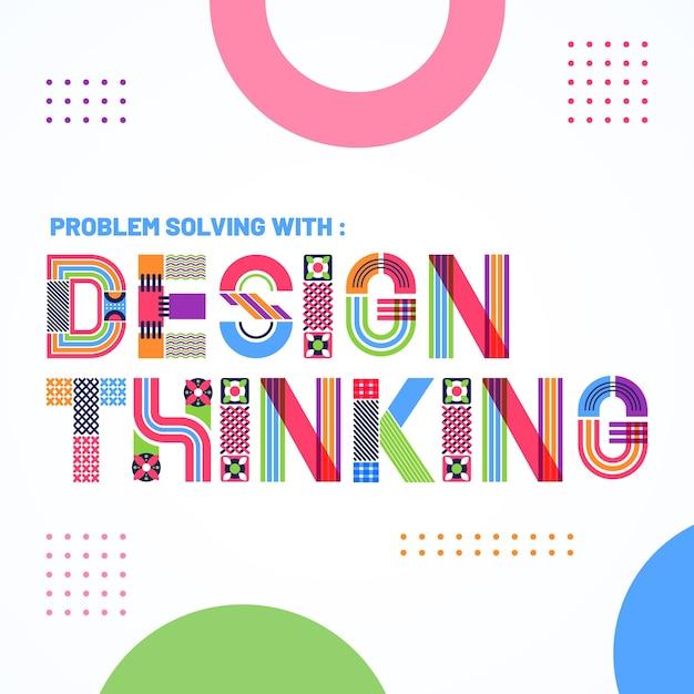 Lettering design grafico stile geometrico Vettore gratuito