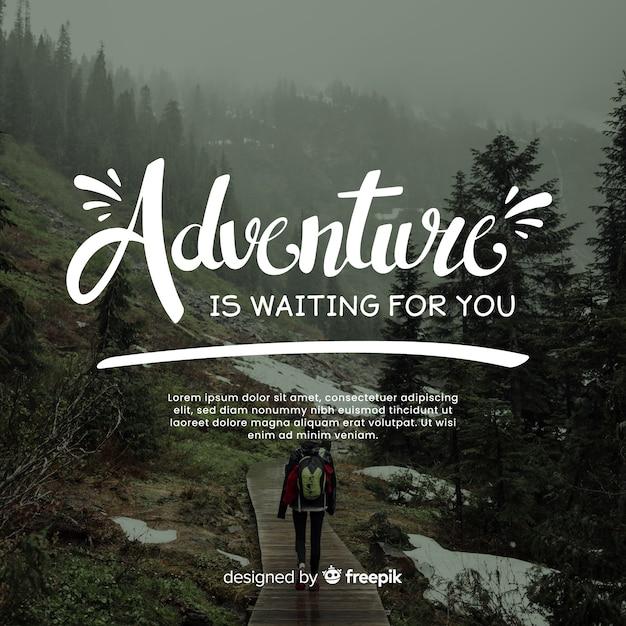 Lettering di avventura con foto Vettore gratuito