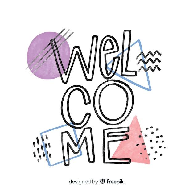 Lettering di benvenuto in stile memphis Vettore gratuito