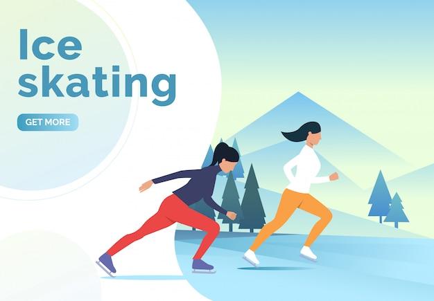 Lettering di pattinaggio sul ghiaccio, donne skater e paesaggi innevati Vettore gratuito