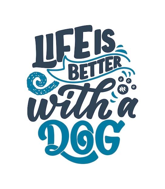 Lettering disegnato a mano sui cani per la stampa di poster o t-shirt Vettore Premium