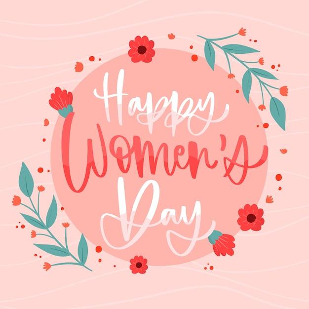 Lettering felice giorno delle donne Vettore gratuito