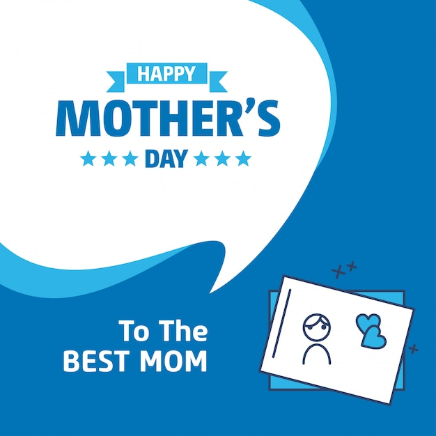 Lettering happy mothers day blue background Vettore gratuito