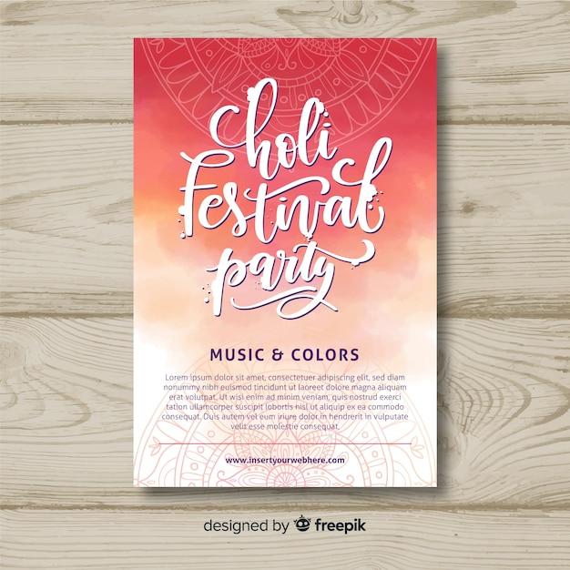 Lettering holi festival party poster Vettore gratuito