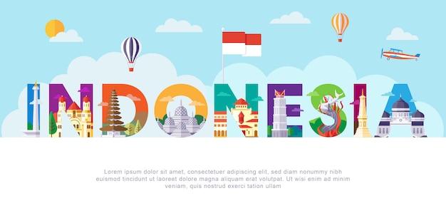 Lettering in indonesia Vettore Premium
