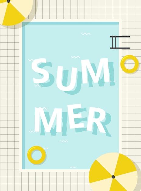 Lettering retrò piscina estiva Vettore Premium