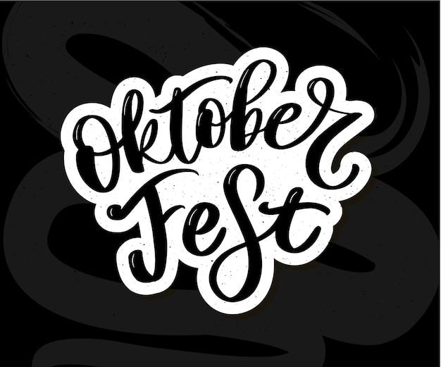 Lettering scritto a mano dell'oktoberfest Vettore Premium