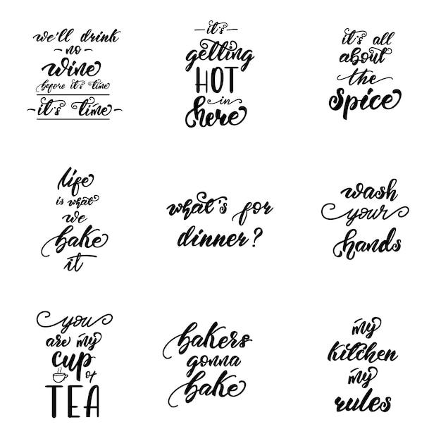 Lettering set con frasi per manifesti di cucina. | Scaricare vettori ...