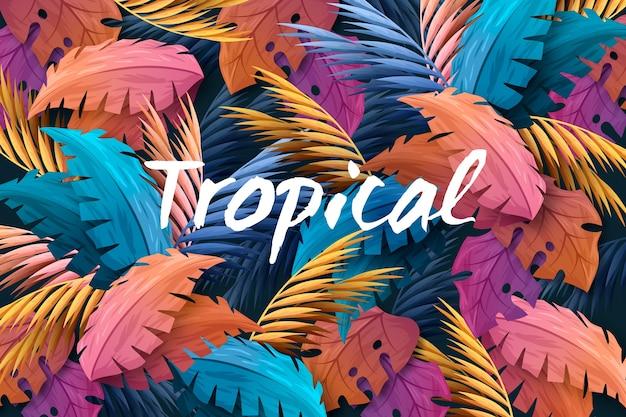 Lettering tropicale con foglie e fiori Vettore gratuito