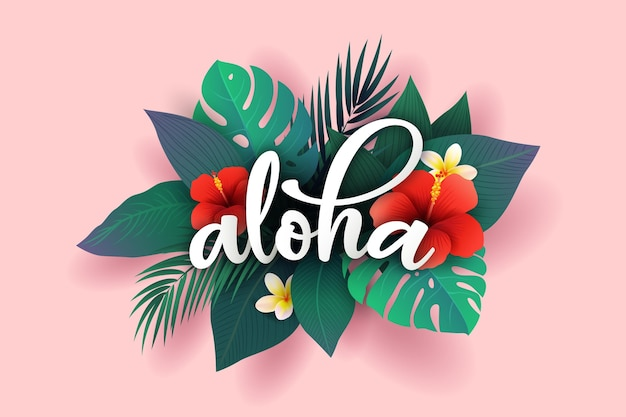 Lettering tropicale con foglie o fiori Vettore gratuito