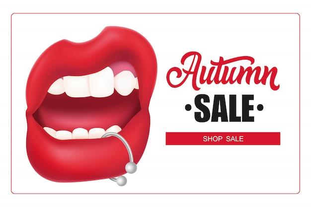 Lettering vendita autunno in cornice, bocca donna con piercing labbra Vettore gratuito