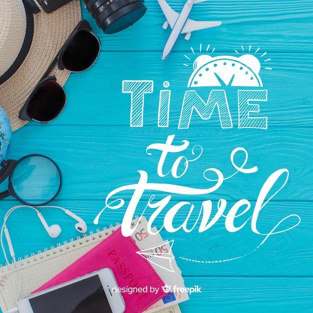 Lettering viaggi con foto Vettore gratuito