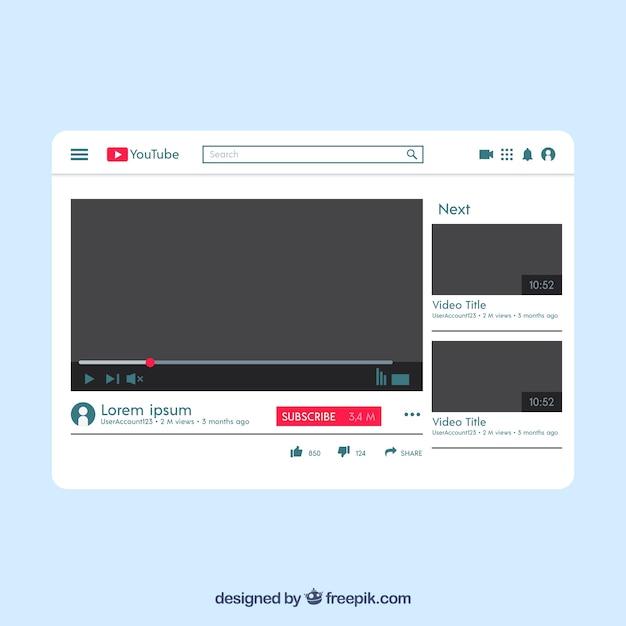 Lettore youtube con design piatto Vettore gratuito