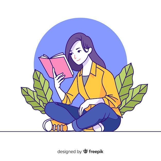 Lettura della giovane donna nello stile coreano del disegno Vettore gratuito