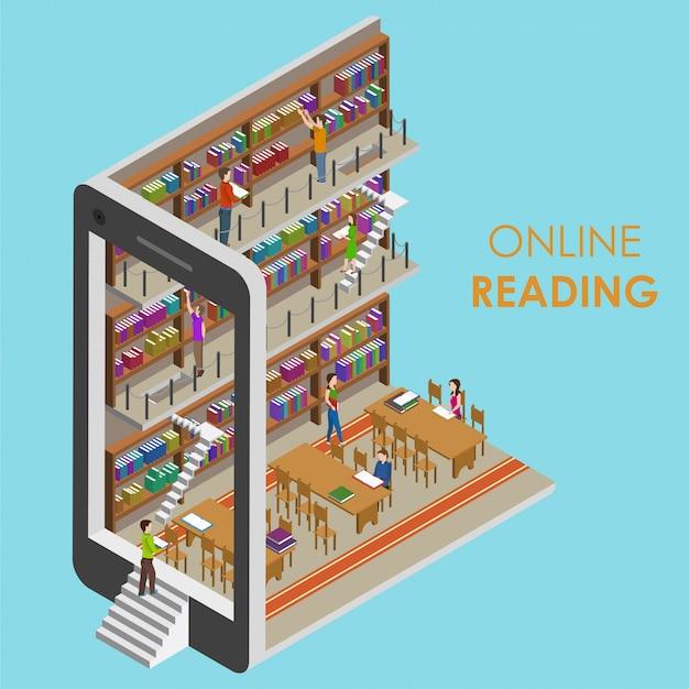Lettura online ual isometrica Vettore Premium