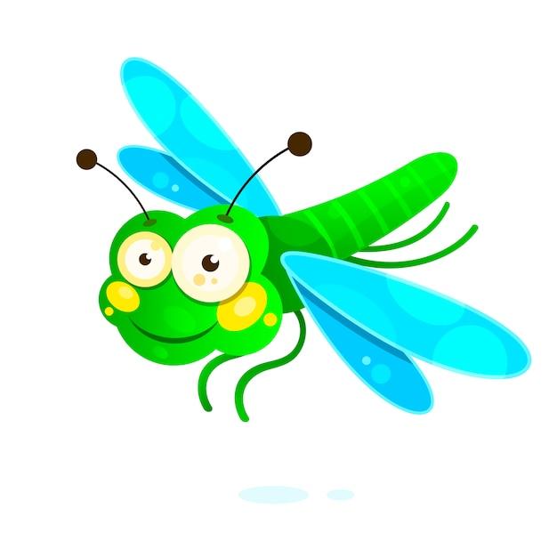Libellula con le ali variopinte belle Vettore Premium