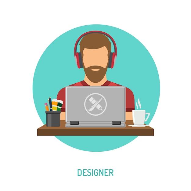 Libero professionista del progettista che lavora al computer portatile Vettore Premium