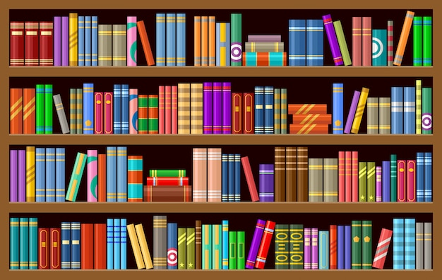 Libreria con libri Vettore Premium