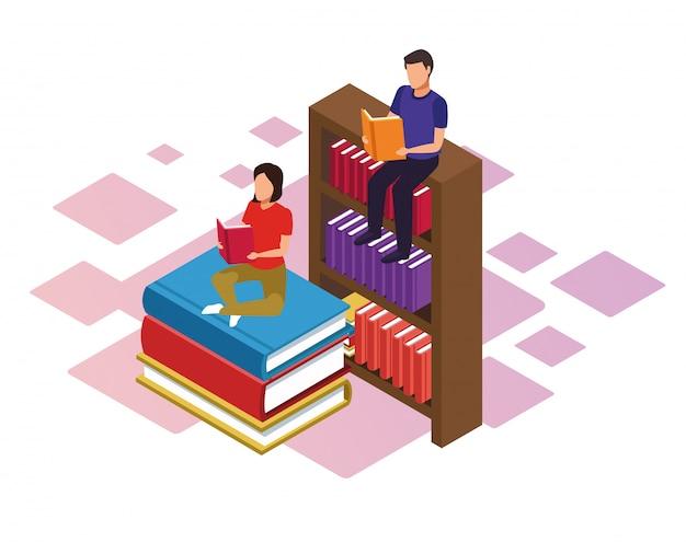 Libreria e libri di lettura donna e uomo su sfondo bianco, colorato isometrico Vettore Premium