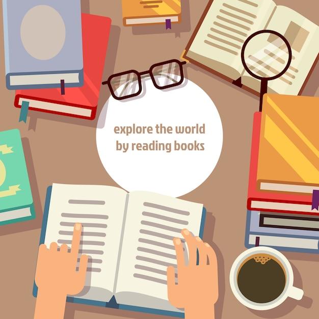 Libri che leggono con le lenti e la lente d'ingrandimento Vettore Premium