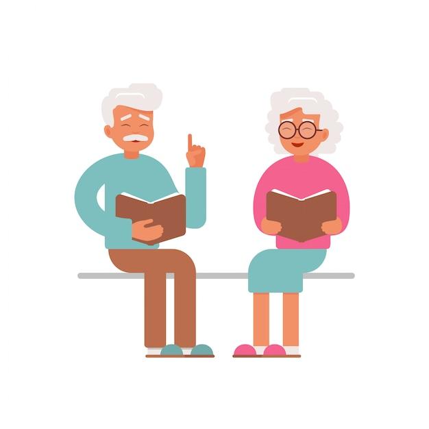 Libri di lettura felici dell'uomo e della donna senior Vettore Premium