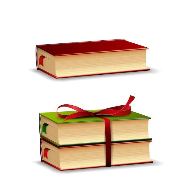 Libri isolati su bianco Vettore Premium