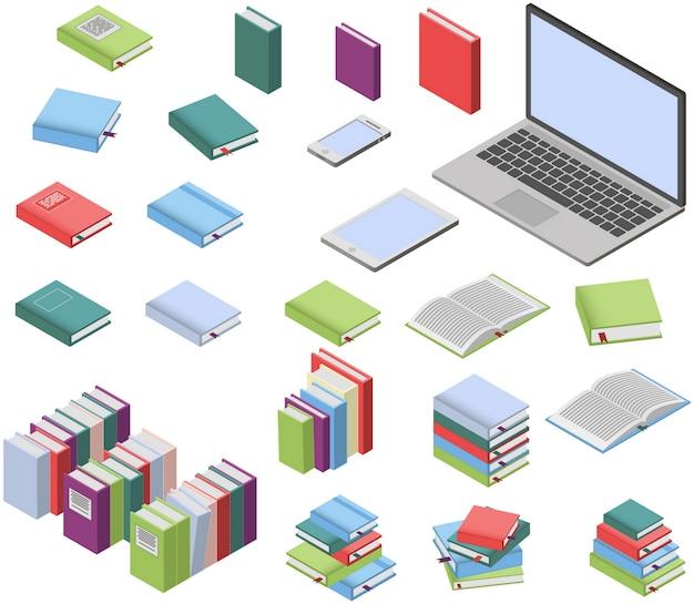 Libri isometrici e set di laptop Vettore Premium