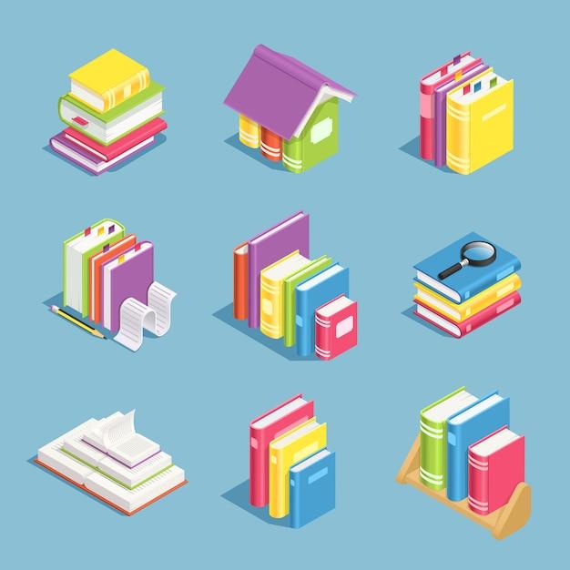 Libri isometrici Vettore Premium