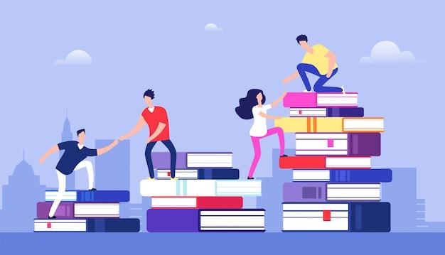 Libri rampicanti della gente successo di affari, livello di istruzione e concetto di sviluppo di abilità e del personale Vettore Premium