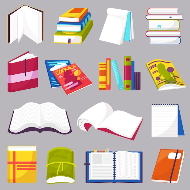 Libri vettoriale aperto libro di diario e quaderno sugli scaffali in libreria o libreria set di copertina bookish del manuale di letteratura scolastica Vettore Premium