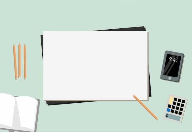 Libro a matita mobile e calcolatore di carta con fondo blu Vettore Premium