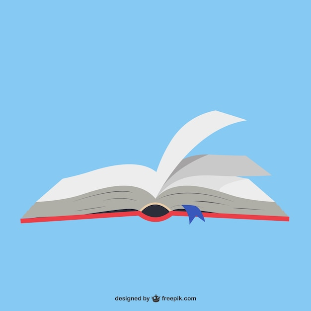 Libro aperto a sfondo blu Vettore gratuito