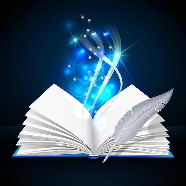 Libro aperto con mistica luce brillante e piuma Vettore Premium