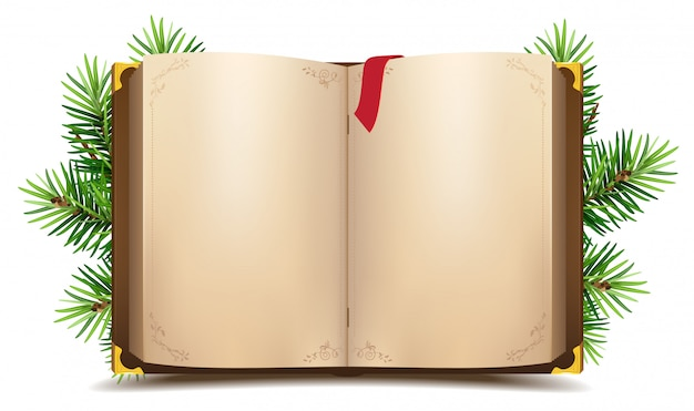 Libro aperto con pagine bianche e segnalibro rosso. ramo di pino verde di natale Vettore Premium