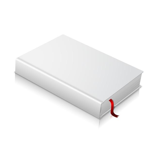 Libro con copertina rigida in bianco bianco realistico con segnalibro rosso. isolato Vettore Premium