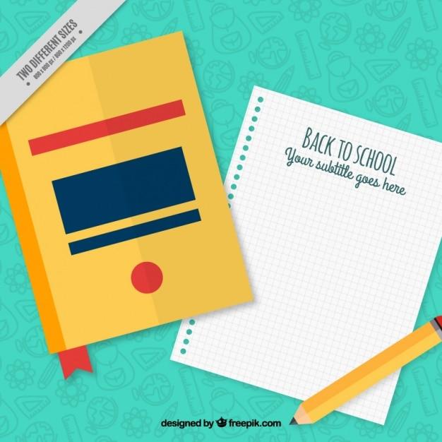 Libro con un taccuino e una matita Vettore gratuito